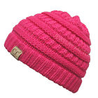 New! CC Beanie Kids Twotone Beanie Mix Trendy Simple Winter Solid Cable Knit Hat