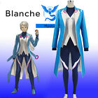 Pocket Pokemon GO Blue Team Mystic Blanche Trainer Team Leader Cosplay Costume