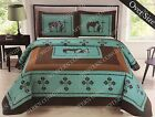 Texas Praying Cowboy Cross Western Quilt Bedspread Comforter 3 Pcs Oversize Set image