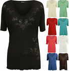 New Plus Size Womens Beaded V Neck Short Sleeve Stretch Ladies T-Shirt Top 14-26