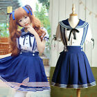 Japanese Girl Japan School Uniform Dress Sailor Cosplay Costume Anime Style WB