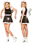 Womens Halloween Creepy Wind Up Broken Doll Fancy Dress Costume Outfit & Key New