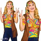 Ladies Adults Cool Hippy Hippie 1960s Sixties Retro Waistcoat Fancy Dress Outfit