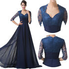 Long Chiffon Lace Vintage Bridesmaid Cocktail Evening Prom Party Mother's Dress