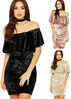 Womens Velour Mini Party Dress Ladies Tiered Ruffle Detail Bardot Off Shoulder