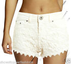 Size 6 8 10 12 NEW CROCHET DENIM SHORTS Ladies DENIM LOW RISE HOTPANTS OFF WHITE