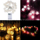 Room 20LED White Rattan Ball Light String Fairy Lamp Wedding Party Xmas Decor