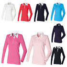 New FRONT ROW Womens Ladies Long Sleeve Plain Rugby Style Shirt 9 Colours S-4XL