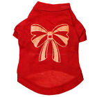 Chritmas Fashion The Pet Dog Clothes Red With Gold Bowknot Cotton T-Shirt Shirts