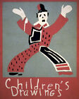 POSTER CHILDREN'S DRAWINGS CLOWN ART VINTAGE REPRO FREE S/H
