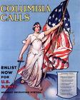 POSTER COLUMBIA CALLS ENLIST NOW FOR US ARMY WORLD WAR VINTAGE REPRO FREE S/H