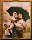 POSTER 1912 LEFEVRE UTILE FRENCH COOKIES GIRL PUPPY BOY VINTAGE REPRO FREE S/H