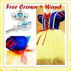 KIDS Halloween Snow White Princess Party Costume Dresses Girls Dresses SIZE 3-9Y