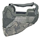 Tactical Airsoft Steel Wire Mesh Half Face Protective Mask w/ Ears Cover ACU
