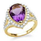 5.55 Ct Genuine Amethyst & White Topaz Cocktail Ring in 14K Yellow Gold / Silver