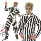 Adult Mens Black & White Striped Suit Halloween Fancy Dress Costume Beetlejuice