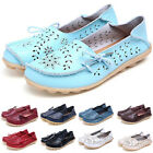 Womens Flat Comfort Leather Loafers Casual Boat Shoes Ladies Slip On Flats SZ3-9