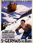 POSTER FUNICULAIRE SKIING SAINT GERVAIS LES BAINS FRANCE VINTAGE REPRO FREE S/H