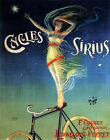 POSTER CYCLES SIRIUS FRENCH BICYCLE SKY FLYING GIRL BIKE VINTAGE REPRO FREE S/H