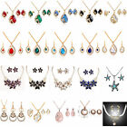 Gold Plated Women Rhinestone Crystal Pendant Necklace Chain Earrings Jewelry Set