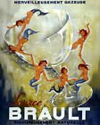 POSTER BRAULT FRENCH SPARKLING WATER BUBBLES MERMAID DANCE VINTAGE REPRO FREE SH
