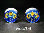 Singapore enamelled coin cufflinks 10 cent
