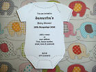 10 x Personalised Baby Grow, Baby Vest Baby Shower Invite + Envelopes