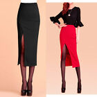 NEW Women Sexy Thigh High Slit Split Slim Bodycon Pencil Midi Skirt High Waist