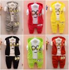 3PCS Baby Boys/Girls Minion Clothing Set Long Sleeve Shirt, Pants, Vest Hoodie