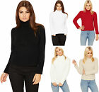 Womens Knitted Polo Neck Jumper Ladies High Neck Long Sleeve Stretch Plain 8-14