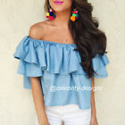 tp191 CFLB Women Ladies Off Shoulder Denim Top Frill Ruffle Blouse Size 8 10 12
