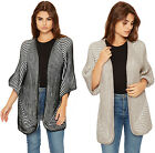 Womens Cable Knitted Open Cardigan Top Ladies Short Sleeve Striped Stretch 10-16