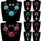 Vintage Antique Silver Turquoise Stone Bib Bridal Necklace Earrings Jewelry Set
