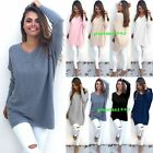 Women's Ladies V-Neck Chunky Knitted Oversized Baggy Sweater Jumper Tops Outwear