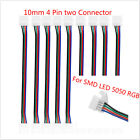 Clever 10mm 4 Pin two Connector Cable SMD LED 5050 RGB Strip Light 1/5/10X
