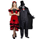 DELUXE COUPLES DAY OF THE DEAD BRIDE GROOM HALLOWEEN FANCY DRESS COSTUMES MR MRS