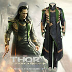 Thor 2: The Dark World Loki Cosplay Movie Costume Leather Outfit Halloween New