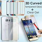 Gel Case+3D Full Curve Cover Tempered Glass Protector For Samsung Galaxy S7 Edge