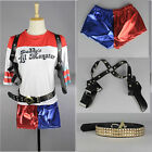 DC Harley Quinn Costume T-Shirt Shorts Holster Glove Suicide Squad Cosplay Set