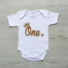 Gold Glitter 1st First Birthday Number One Crown Heart Baby Grow Body Suit Vest