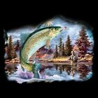 Sleeveless Denim Vest Fly Fishing Rainbow Trout Brown Lure Bass River Cast Catch