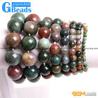 Handmade Natural Stone Indian Agate Beaded Stretchy Bracelet Free Shipping 7""