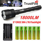 TrustFire 3X CREE XML T6 18000LM LED Flashlight Torch + 6x 18650 Battery+Charger