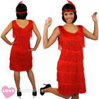 DELUXE RED FRINGE FLAPPER FANCY DRESS ADULT CHARLESTON COSTUME 1920'S 1930'S
