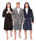 Mens Plain Fleece Hooded Dressing Gown New Winter Super Soft Bathrobes M-XXL