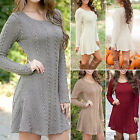 Women's Long Sleeve Loose Casual Knitted Sweater Jumper Knitwear Outwear Dress