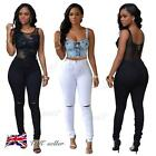 Ladies Ripped Knee Sexy Skinny Jeans Womens High Waisted Jegging 8 10 12 14 16
