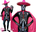 PINK DAY OF THE DEAD COSTUME SKELETON SKINSUIT SOMBRERO HAT CAPE FANCY DRESS
