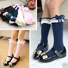 Kids Baby Girl Toddler Kids Knee High Length Cotton Winter Bow Frill Lace Socks
