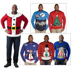 Duke D555 Mens 3D Star Penguin Santa On Sleigh Christmas Crew Neck Knited Jumper